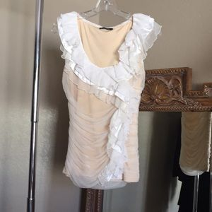 Dolce Cabo Sheer Over Nude Ruffle Sleeveless Top